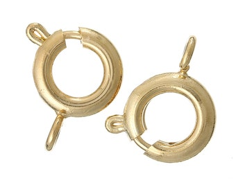 10 Gold Tone Spring Ring Clasps, 18k GOLD PLATED, 7mm diameter bolt lever, fcl0130