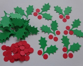 Holly Leaves and Berries Die Cuts -Confetti - Scrapbooking Embellishments - Cardmaking Supplies - Christmas - Holiday