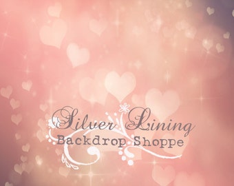 6ft x 7ft Vinyl Photography Backdrop / Love / Muted HEART Bokeh / VALENTINE'S DAY