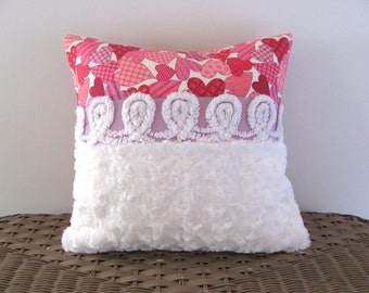 purple chenille pillow cover 14 X 14 HAPPY HEARTS pink cushion white pillow cottage style Valentine pillow