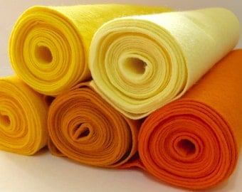 Wool Blend Felt Orange Yellow Shades