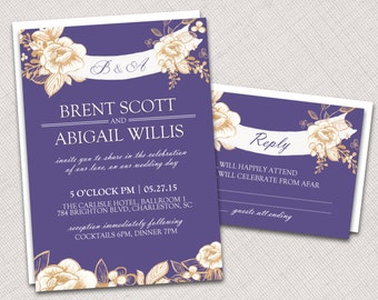 Floral Invitation and RSVP