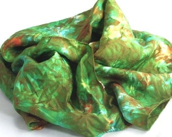 "silk scarf 11"" x 60 "" Habotai multi colored women's silk accessories green and turquoise"
