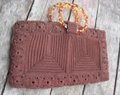 Vintage Chocolate Brown Hand Crocheted Envelope Purse Handbag with Faux Tortoise Lucite Handles