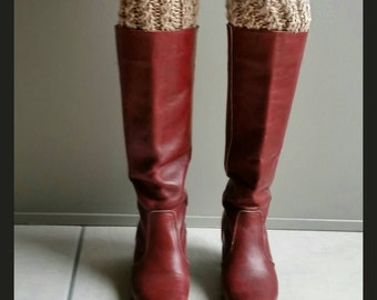 Chunky Cable Knit Boot Cuffs Oatmeal- faux leg warmers boot socks