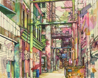 "Pink and Green Alleyway 12"" x 12"" Digital Art Reproduction Print Of Original Ink and Acrylic Painting"