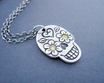 Silver Day of the Dead Skull Necklace, Silver Sugar Skull Yellow Eyes, One of a Kind