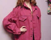 "Rosey Burgundy  hand dyed Levis denim Jacket. Chest 52"" X-Large"