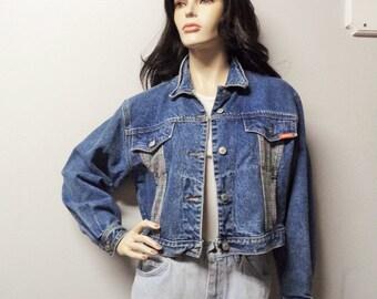 Vintage 80's Jordache Cropped  Denim & Plaid Jacket -  size Medium