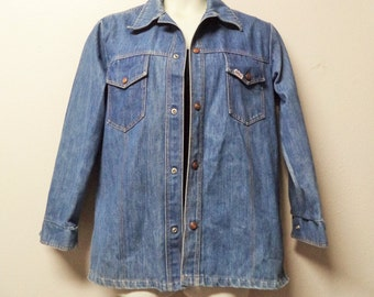 Vintage 70's Big Smith sturdy Denim Work Shirt with Snap Buttons Size  46' chest