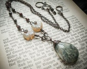 Woodland Necklace of Moss Agate and Czech Glass. Fairytale darkness
