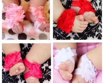 Summer SALE 2 Pairs Shabby Barefoot Sandals Elastic Baby Girl spring summer newborn 0-5 5-12 12-18 months pink purple blue green teal aqua