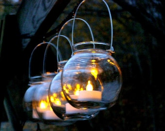 Four Clear Glass Globe Candle Holder Lanterns Hanging Vase Outdoor Lighting Wedding Decor