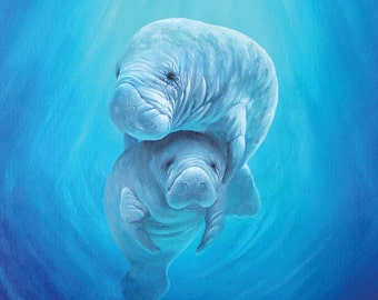 Manatee painting original 20 x 24 acrylic painting on stretched canvas