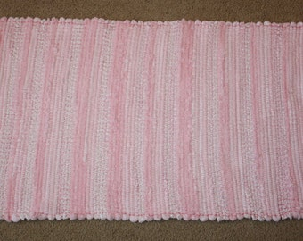 Handwoven Rag Rug -Super Soft Pink Chenille & Terrycloth - 47 inches....(#49)