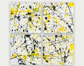 Abstract Art Modern Painting Acrylic On Canvas Black And Yellows Colorful Home Decor