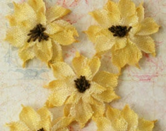"Sunflowers Yellow Burlap fabric Flowers 2.5"" (set of 5) 1223-218 party wedding decor headband flowers hat rustic flowers scrapbooking"