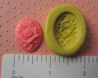 ROSE CAMEO MOLD silicone cabochon mold for food cake pops balls fondant or polymer clay mold for cold  porcelain metal clay