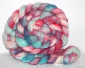 Superwash Merino Wool Hand Dyed Muted Teal Pink Purple Blue  Spinning Fiber