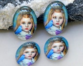 Oval Blue Girl Handmade photo glass cabochon dome Beads 10x14mm13x18mm 18mmx25mm 30mmx40mm For Earring Brooch Ring Necklace Bracelet