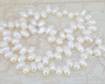 Loose Rice Dancing White Pearl Strand freshwater cultured pearl beads Top drilled Pearl Gemstone Bead Whosale Pearls Strand, Full One Strand