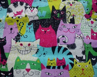 Cats in fuchsia pink aqua and green, fat quarter, cotton linen blended fabric