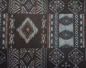 SALE - Geometric patterns in deep brown, larget remnant, pure cotton fabric
