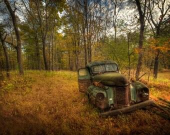Rusty Old Truck Photograph, Autumn Landscape, Fall Foliage, 1940 International Truck, Green, Gold, Color Photograph, Grass, Rust, Art Print