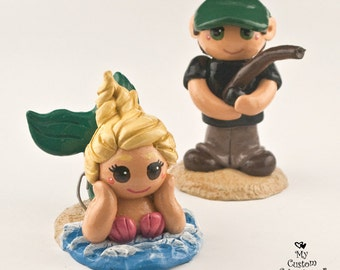 Bride and Groom Mermaid Wedding Cake Topper