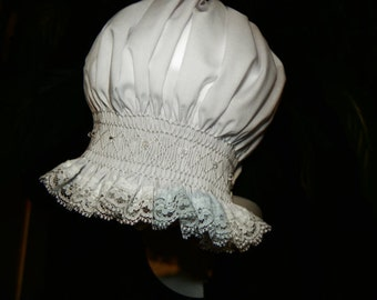 White with Chrystal Bonnet  - 3 - 12 months
