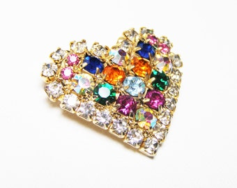 Heart Brooch and Pendant - Vintage Brooch with Sparkling Multi-color Crystal Rhinestones for a Sweetheart