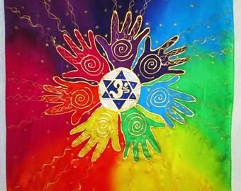reiki Chakra art wallhanging,spiritual gift, Healing Hands silk wall hanging,Reiki,  chakra art, energy art, silk art, rainbow art,spiritual