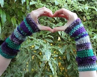 Purple, Aqua, Teal and Green Crochet Arm Warmers / Wristlets