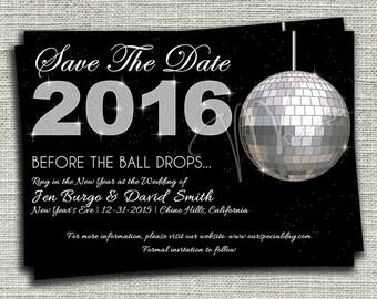 Glitter Save the Date Invitation, Save the Date Announcement, Glitter and Black Save the Date Announcement- Digital File You Print