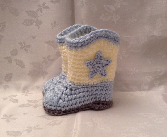 Ready to Ship  Blue and Off White Crochet baby cowboy booties 0 to 3 month boots Infant Booties