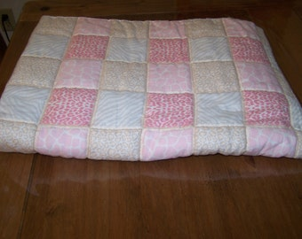 Pink Animal Prints Hand Quilted Flannel Baby Blanket