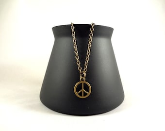 Oxidized Brass Peace Necklace - Charm Necklace - Peace Necklace - Peace Necklace - Necklace - Oxidized Brass Jewelry - FREE SHIPPING