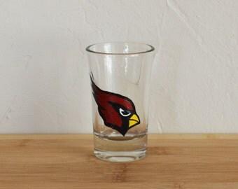 Arizona Cardinals Shot Glass Hand Painted Red Cardinal