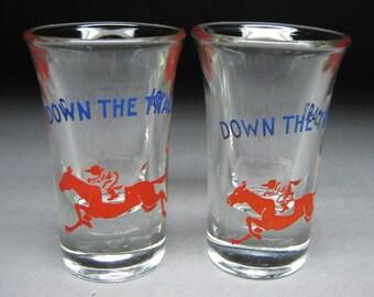 DOWN THE TRACK shot glasses (2) vintage 1940's 1950's novelty barware cocktail