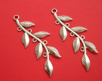 4- Ox Silver over Brass Stamping  Embellishment Leaf Branch  Pendant Connector Jewelry Findings.