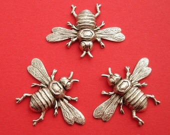 3- Bee Bug Insect Ox Sterling Silver Over Brass Stamping Ornament Pendant Jewelry Findings.