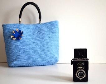 Bag // Blue Crocheted Handbag Celebrity Style,Crochet winter  bag- shoulder bag- crochet bag-