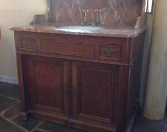 Rare French Marble Top & Walnut Commode with Tilting Porcelain Sink
