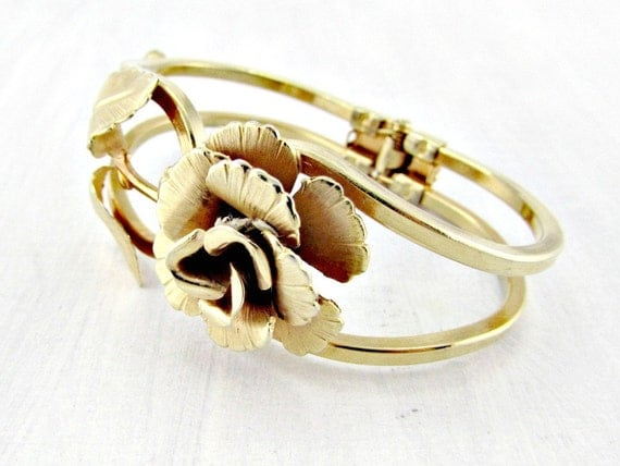 Vintage Hinged Cuff Bracelet, Gold Rose Bracelet, Gold Statement Bracelet, Clamper Bracelet, 1960s Art Nouveau Costume Jewelry, Gift for Her
