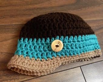 Crochet Beanie with Brim (Newborn, 3-6 month, & 6-12 month sizes) - knit, hat, boy, girl, newborn, photo