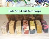 Pick Any 4 soaps for 20 dollars - soap set, gift set, sampler set