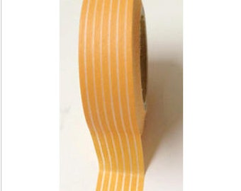 Skinny White Line on Orange Washi Tape 11 yards 10 meters 15mm Skinny Lined Washi Tape