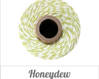 SALE 100% Cotton Twine Honeydew Bakers Twine The Twinery 240 Yard Spool Honeydew Green and White Striped Twine