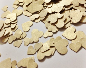 Gold Shimmer Hearts Adorable Heart Confetti in Metallic Gold over 500 hearts Gold Hearts Shiny Gold Hearts