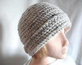 Slouchy Chunky Aran Beanie Hat for Men or Women, Hand Crocheted in Oatmeal. Fashion Accessories. Winter Warmers,